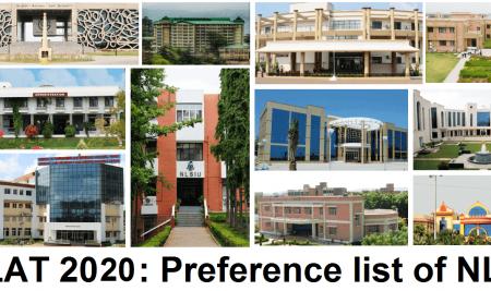 CLAT 2020: Preference list of NLU